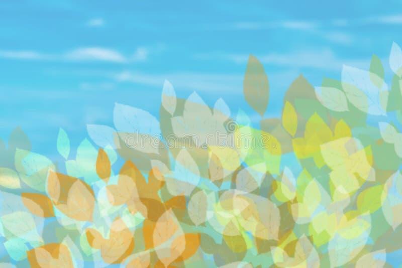 höstbakgrundscloseupen colors orange red för murgrönaleaf Abstrakt höst eller ljus sommarlandskaptextur med sidor och blåa ljusa  royaltyfri illustrationer