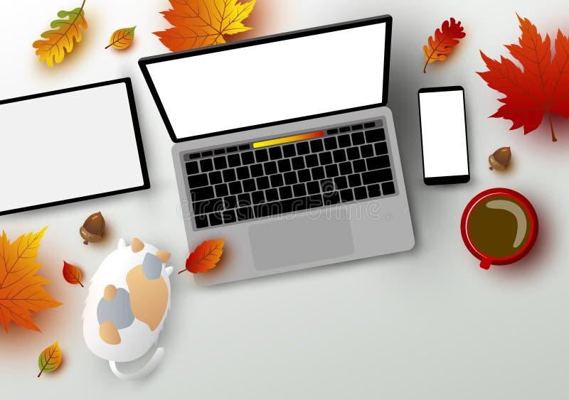 Höstbegrepp av den digitala minnestavlan för workspacebärbar datordator stock illustrationer