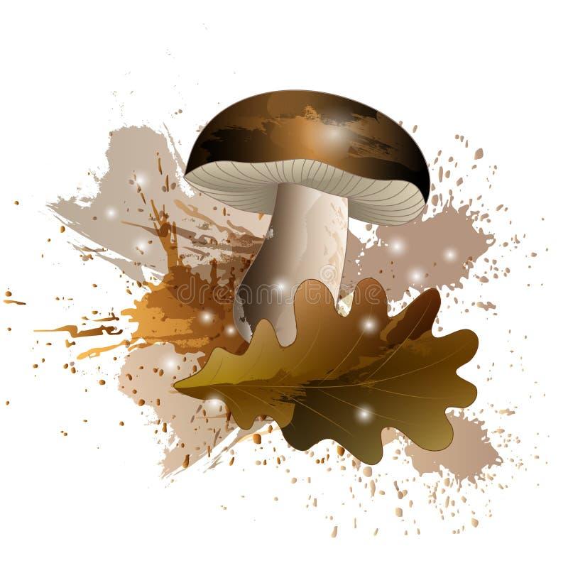Höstberättelse med champinjon- och ekbladet med vattenfärgeffekt, vektorillustration vektor illustrationer
