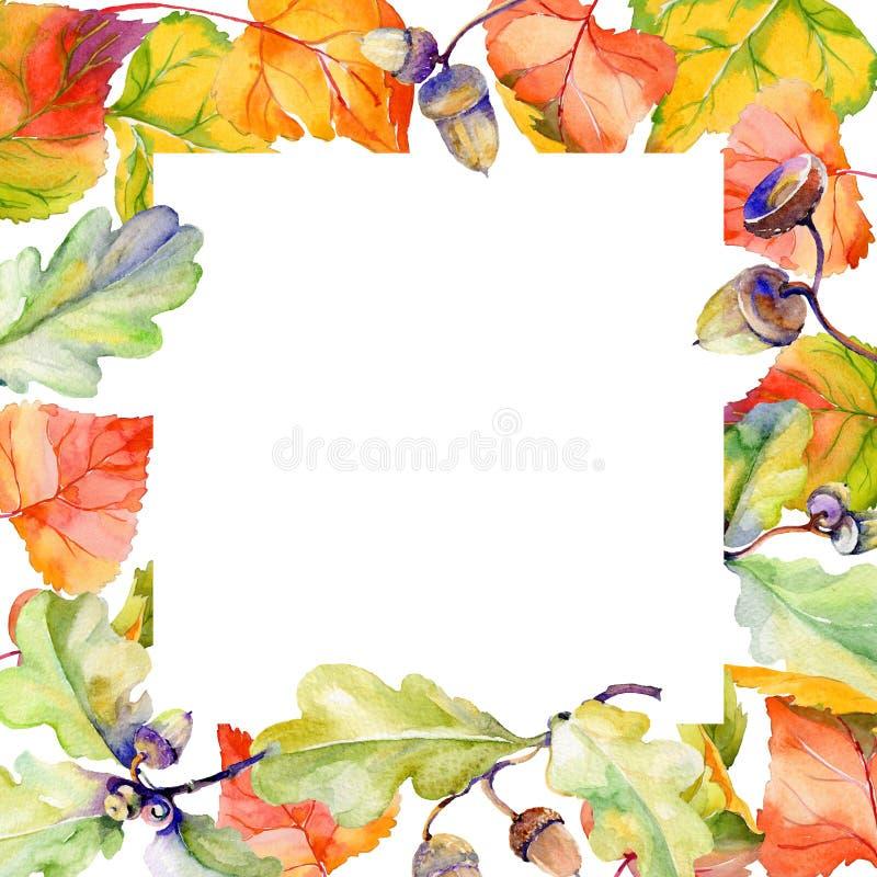 Höstblad av poppelramen i endragen vattenfärgstil royaltyfri illustrationer