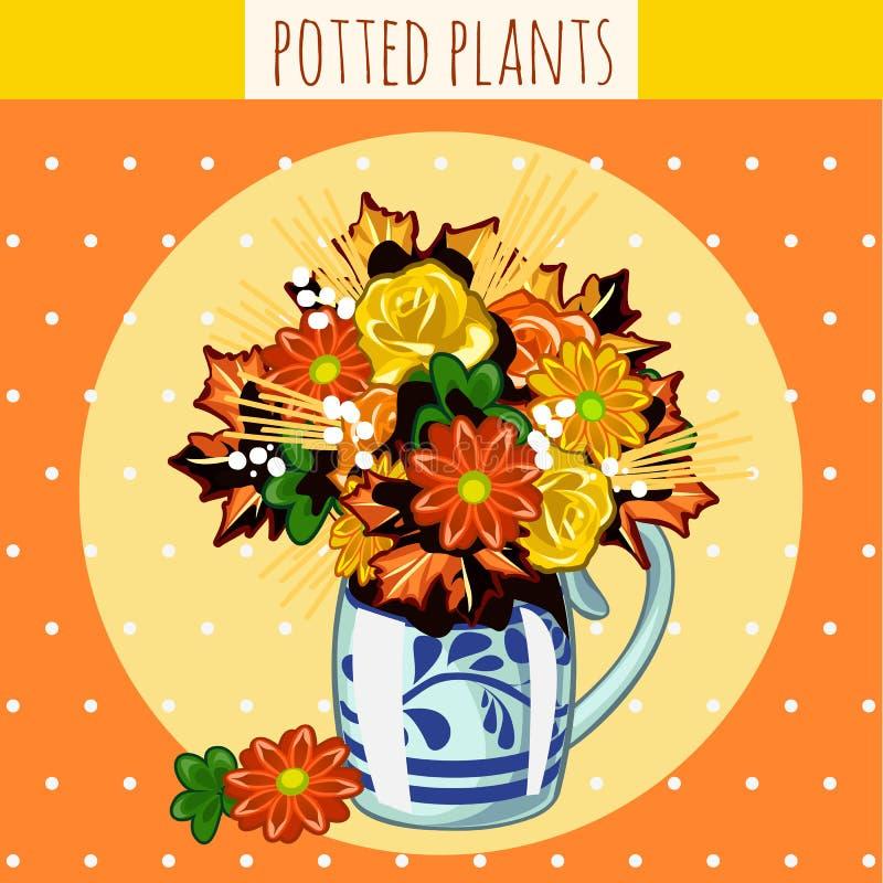 Höstbukett i en vas av blandade blommor vektor illustrationer