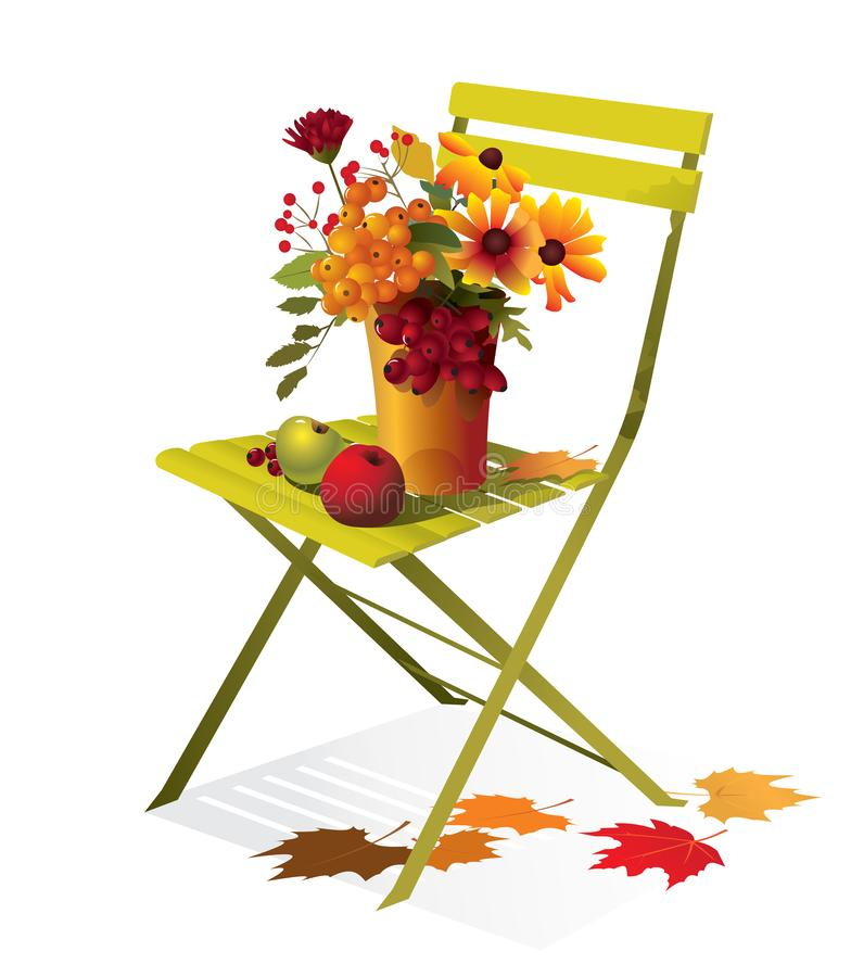 Höstbukett med blommor, äpplen på en stol stock illustrationer