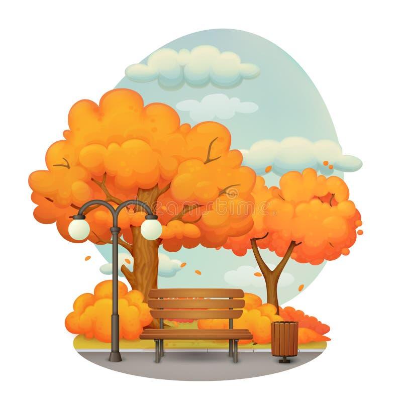Höstdag i parkera Orange träd med fallande sidor royaltyfri illustrationer