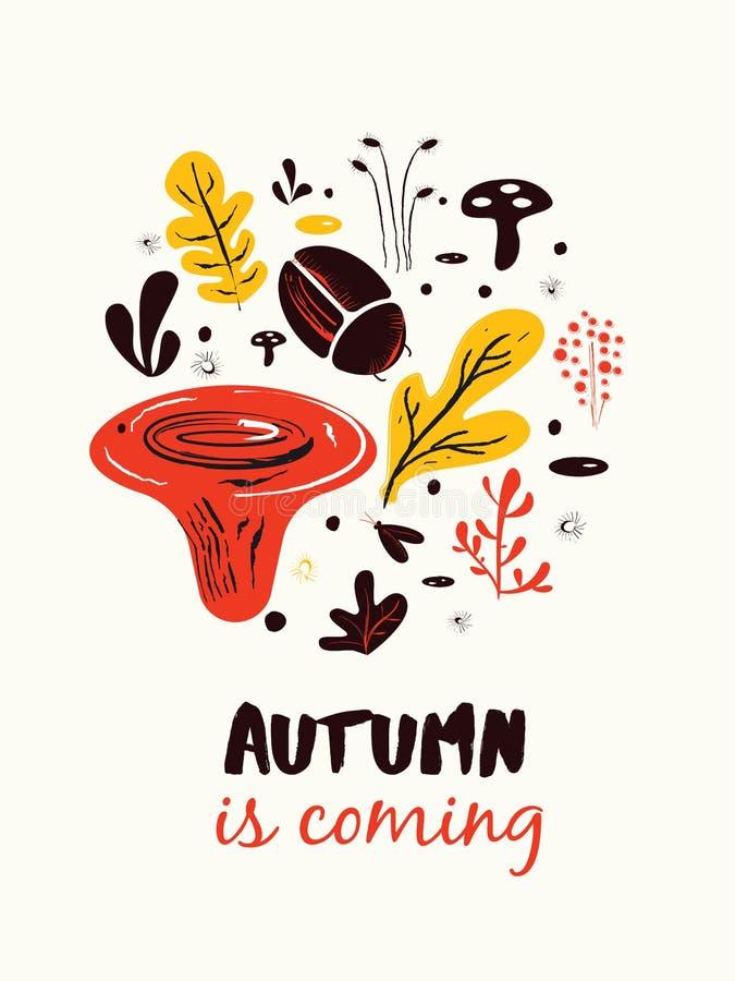 Hösten är kommande Affisch baner, kortmall stock illustrationer
