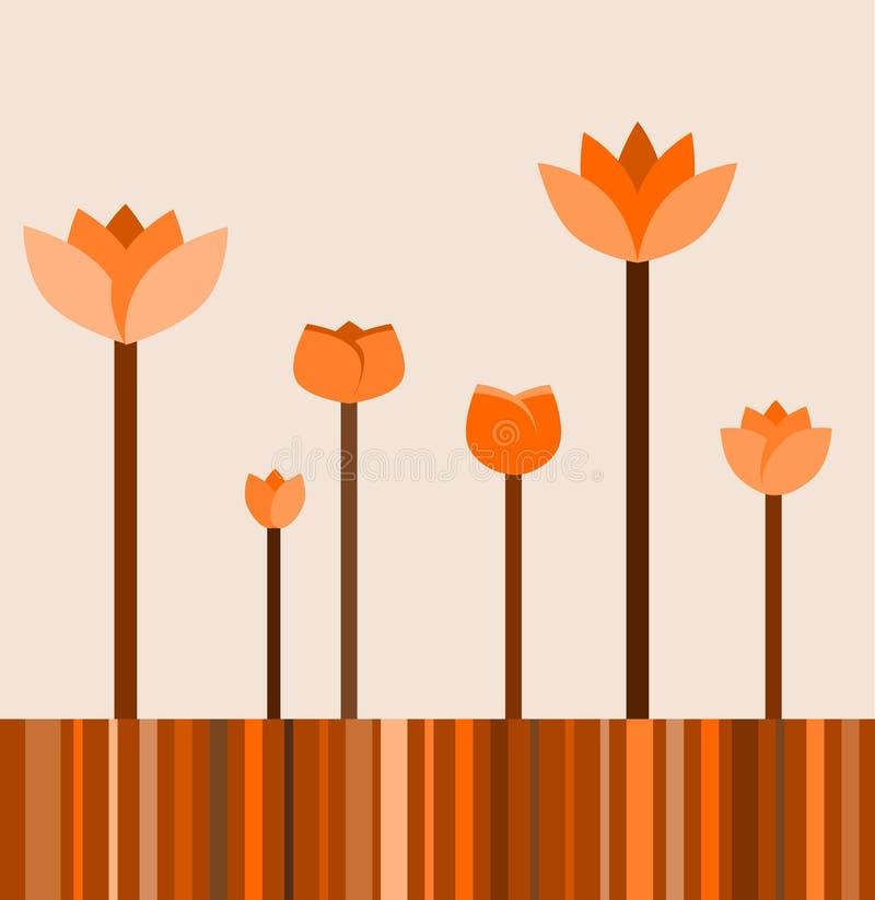 hösten blommar retro stock illustrationer