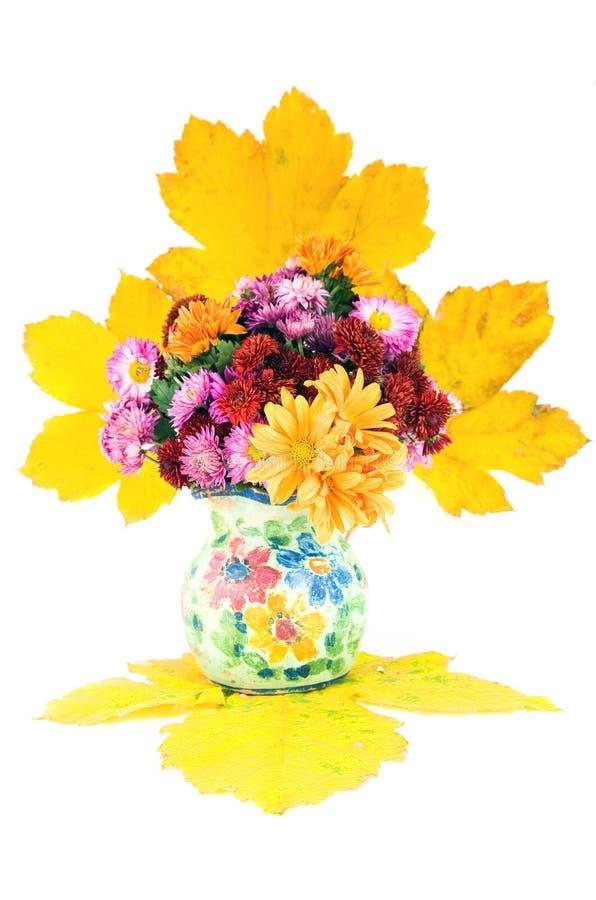 hösten blommar vasen arkivbild