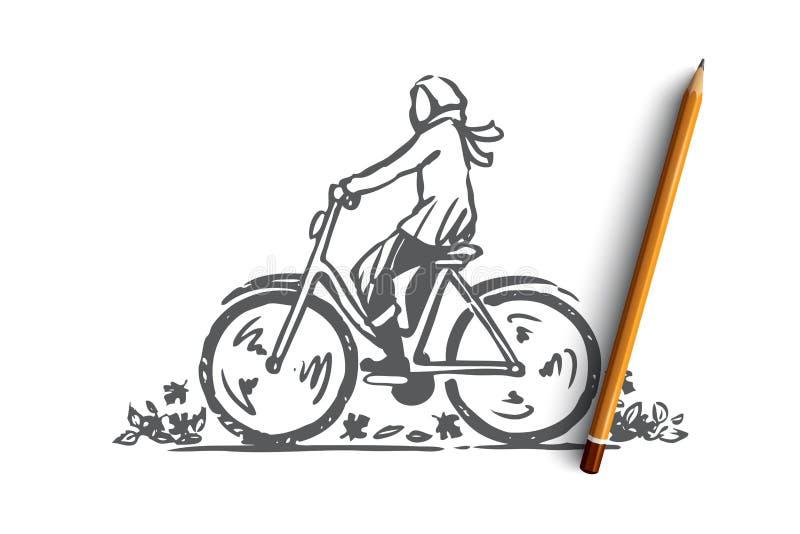 Hösten cykeln, nedgång, parkerar, rider begrepp Hand dragen isolerad vektor stock illustrationer