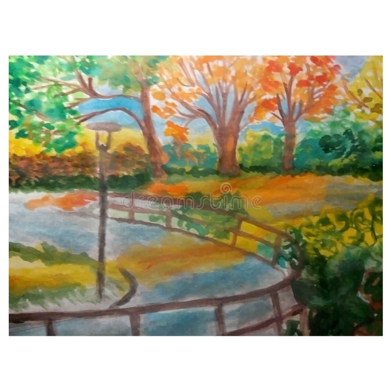 Hösten för landskapet för vektorillustrationvattenfärgen parkerar sidor gulnar impressionism för orange träd royaltyfri illustrationer