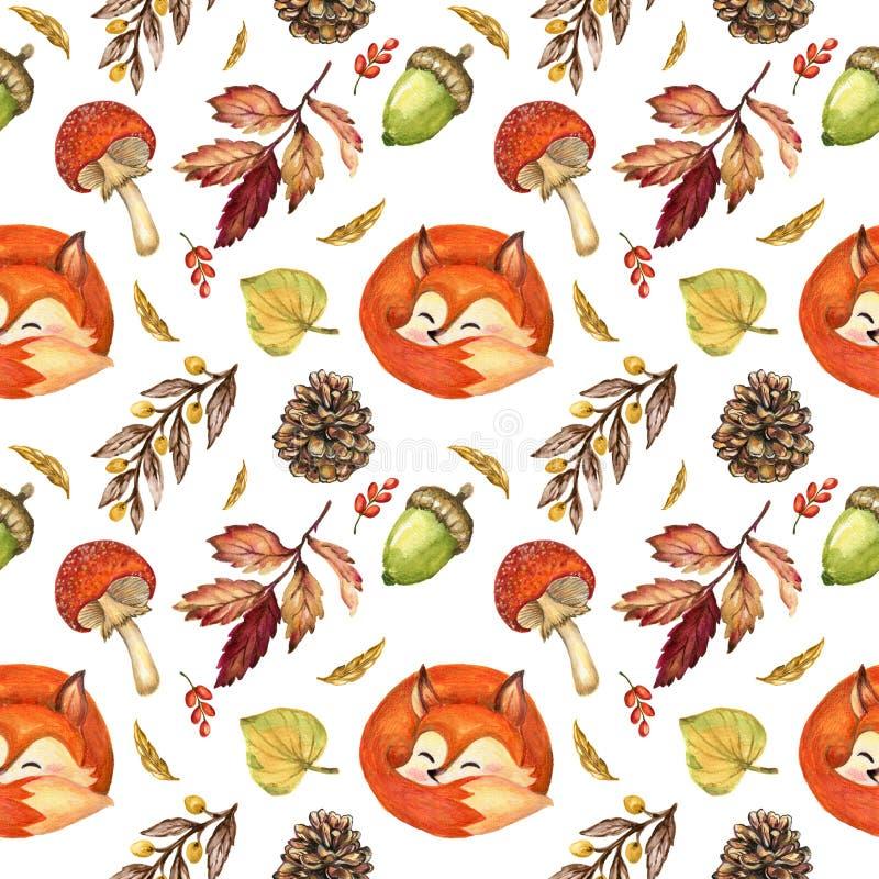 Hösten för vattenfärggouachetappning och sömlösa nedgångsäsonger klappar vektor illustrationer