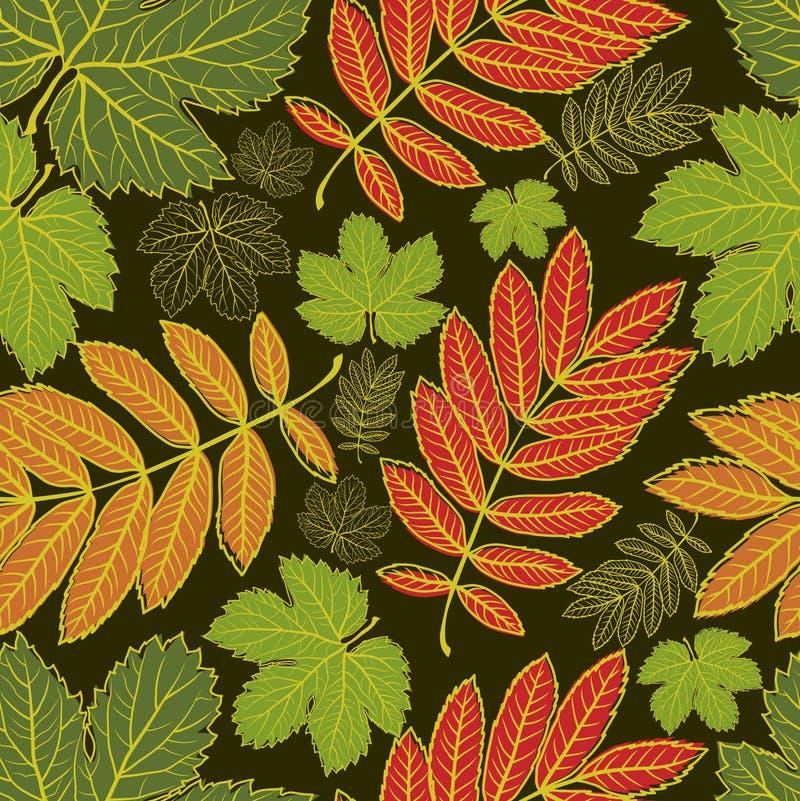 hösten låter vara modellen seamless tacksägelse royaltyfri illustrationer