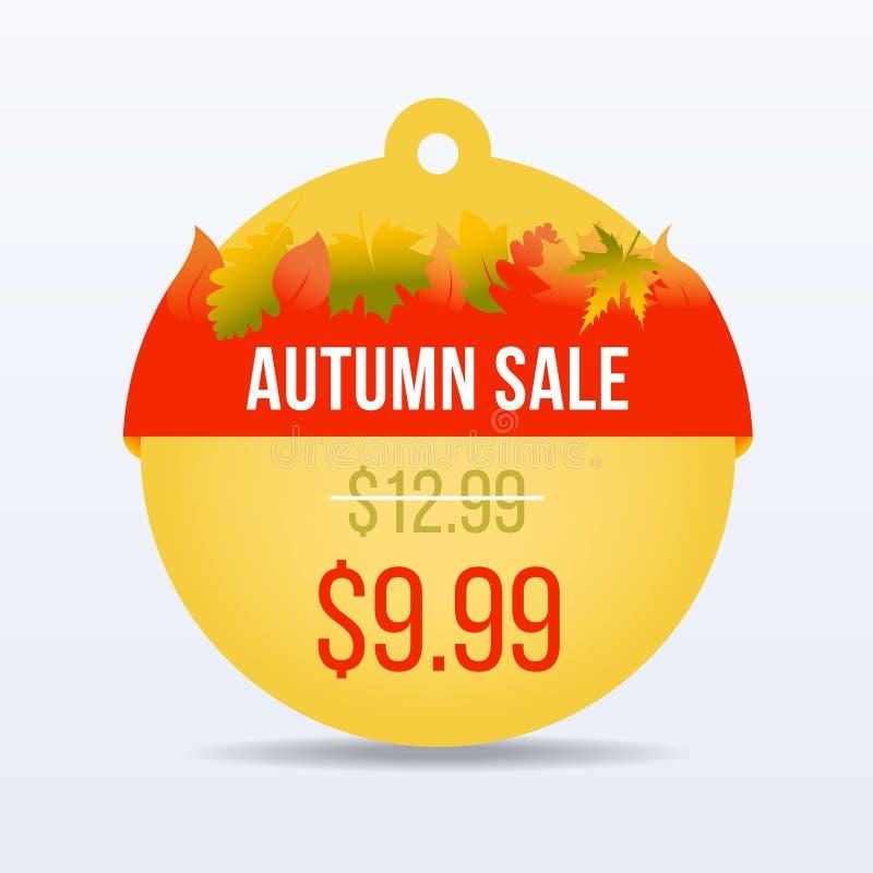 hösten låter vara rött försäljningsord Säsongförsäljning För försäljningsetikett för specialt erbjudande pris för tecken för klis stock illustrationer
