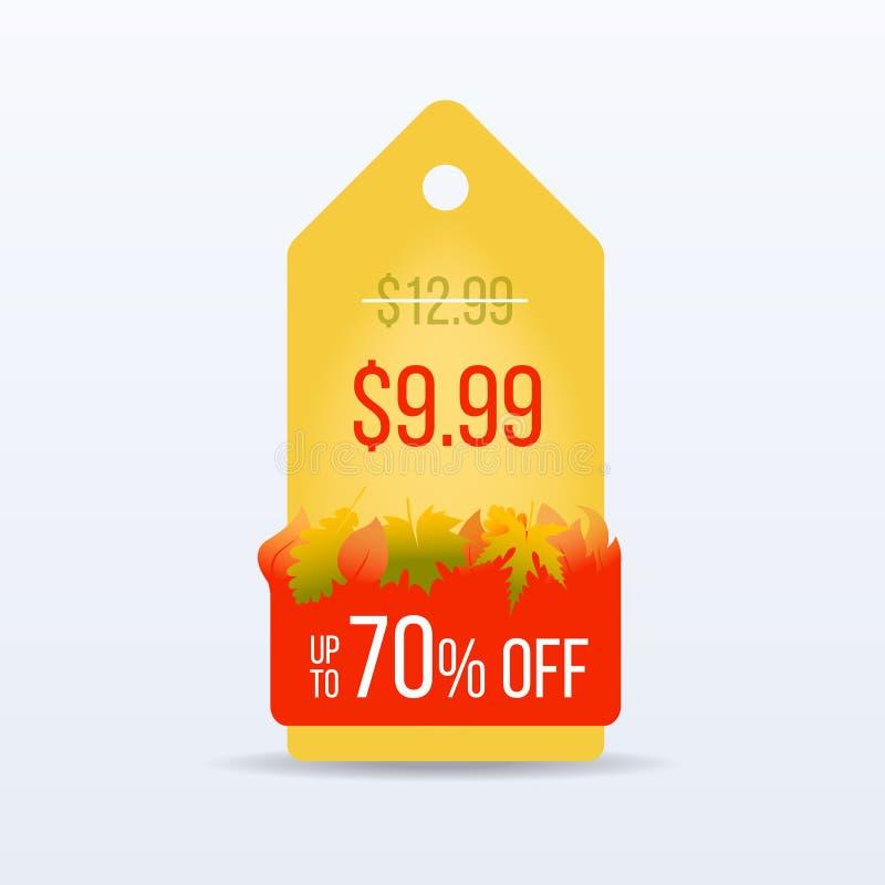 hösten låter vara rött försäljningsord Säsongförsäljning För försäljningsetikett för specialt erbjudande pris för tecken för klis vektor illustrationer
