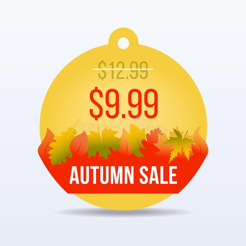 hösten låter vara rött försäljningsord Säsongförsäljning För försäljningsetikett för specialt erbjudande pris för tecken för klis royaltyfri illustrationer