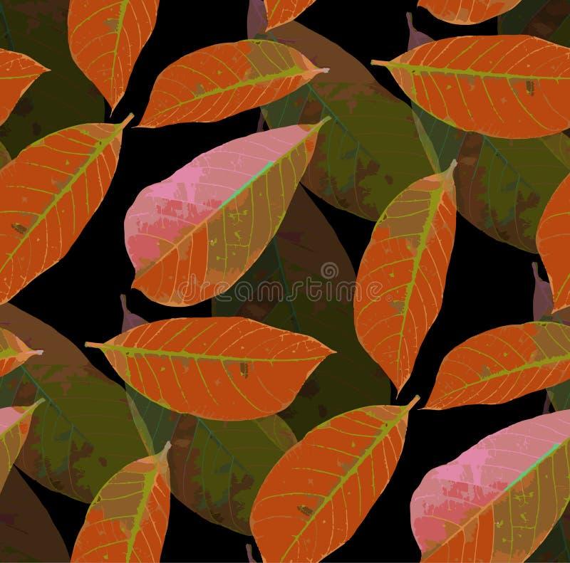 Hösten låter vara seamless modellbakgrund royaltyfri illustrationer