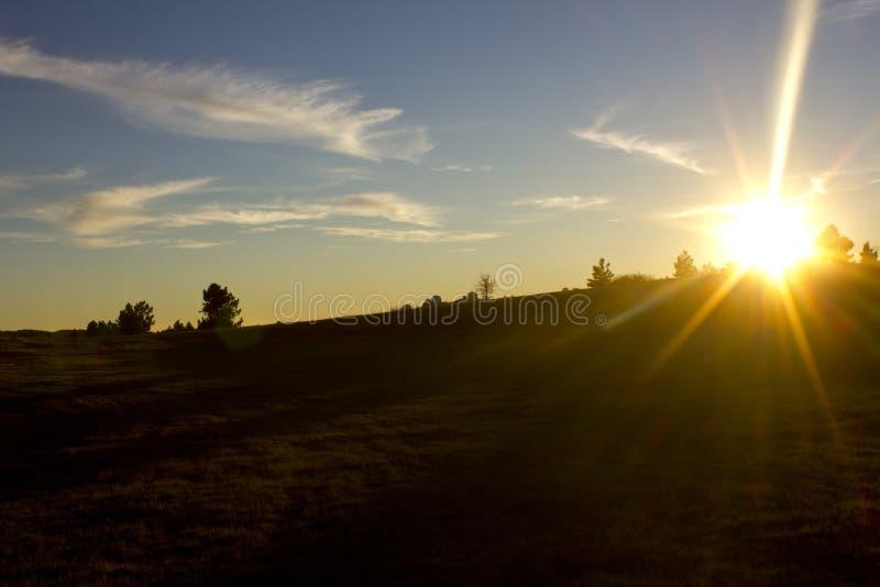 Hösten landskap på solnedgången Gulinglandskap i skogen arkivfoto