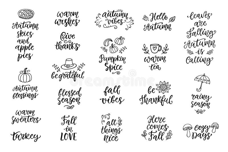 Hösten och tacksägelsen räcker skriftlig bokstäver, och klotter ställer in, isolerat på vit royaltyfri illustrationer