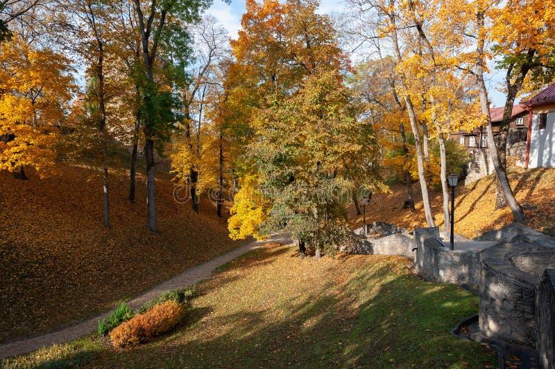 Hösten parkerar med att gå banor i den Cesis staden, Lettland arkivbild