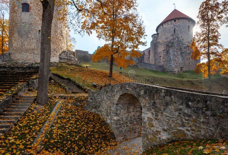 Hösten parkerar med den gamla bågen som omges med tornet, fördärvar i den Cesis staden, Lettland arkivfoton