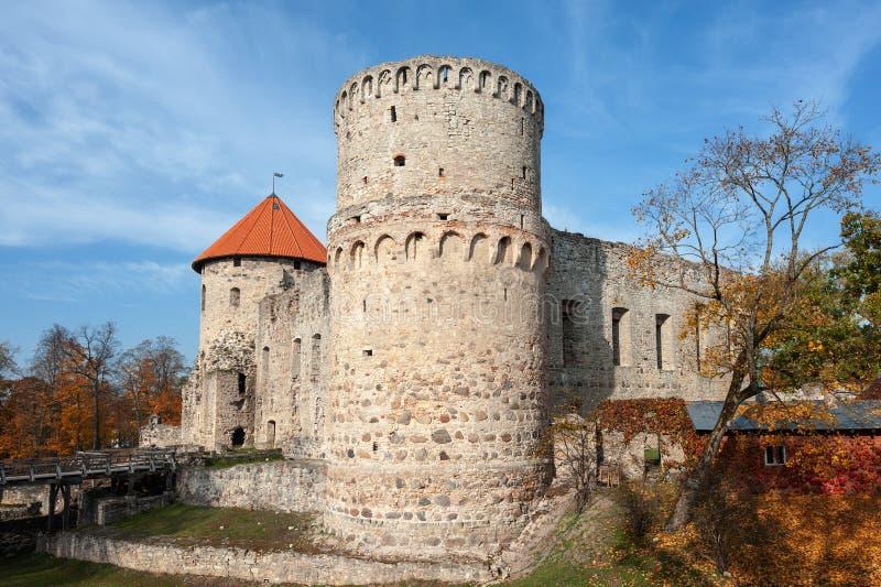 Hösten parkerar med fördärvar av medeltida slott i den Cesis staden, Lettland royaltyfri foto