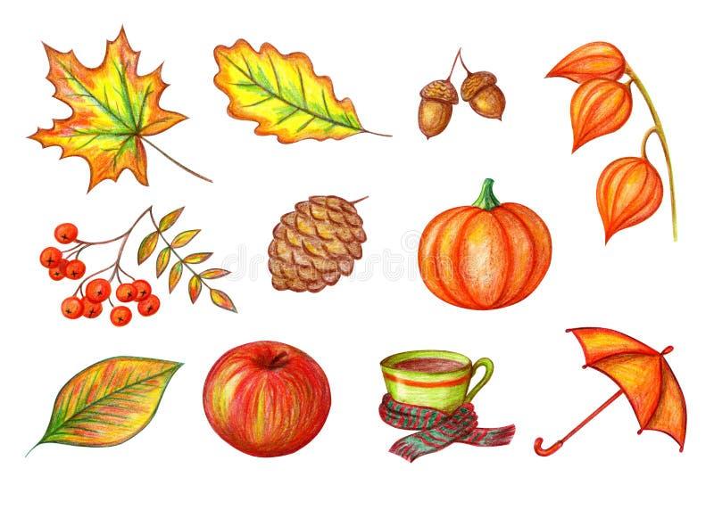 Hösten ställde in på en vit bakgrund stock illustrationer
