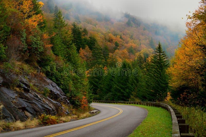 Höstfärg på Blue Ridge Parkway, North Carolina, USA royaltyfri bild