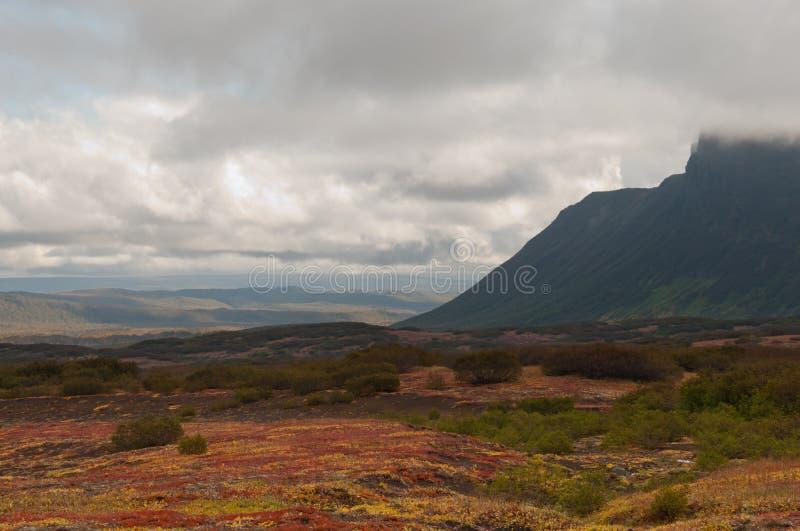 Höstfärger halvö på för den Nalycheva dalen, Kamchatka royaltyfri foto