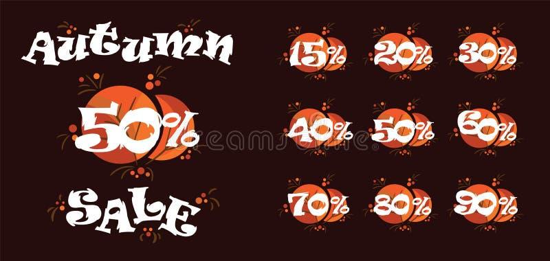 Höstförsäljning femtio procent vektorillustration Rabatter i lagersvart fredag stock illustrationer