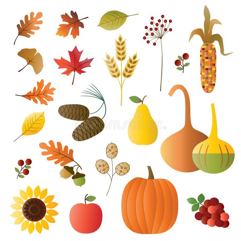 Höstfrukt och lövverk stock illustrationer