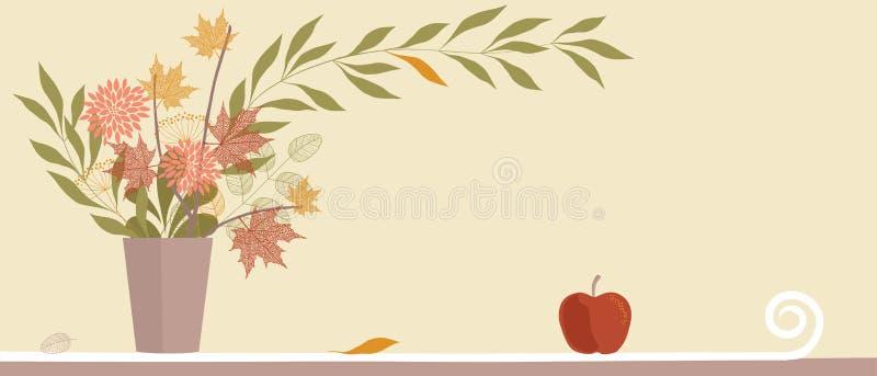 höstgruppen blommar leaves vektor illustrationer