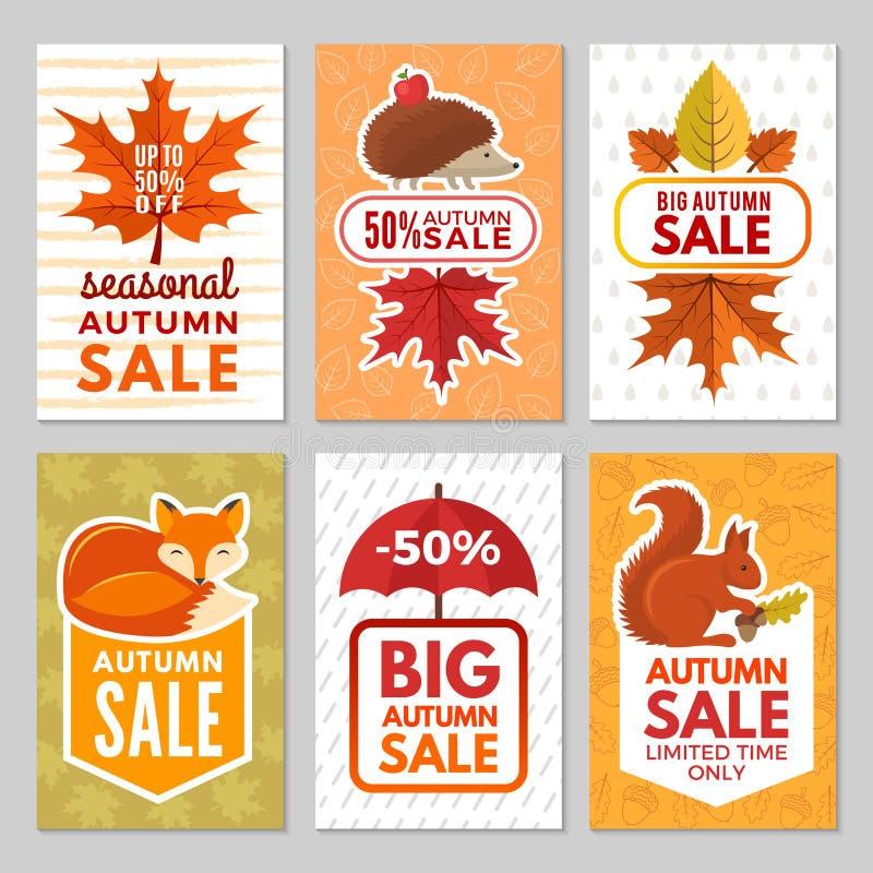 Höstkort Igelkott, räv, ekorre och höstsidor med paraplyet från regn Vektorhöstsymboler av kort för stort royaltyfri illustrationer