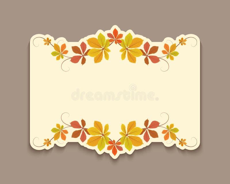 Höstkort med utklippgränsen av gula sidor royaltyfria foton