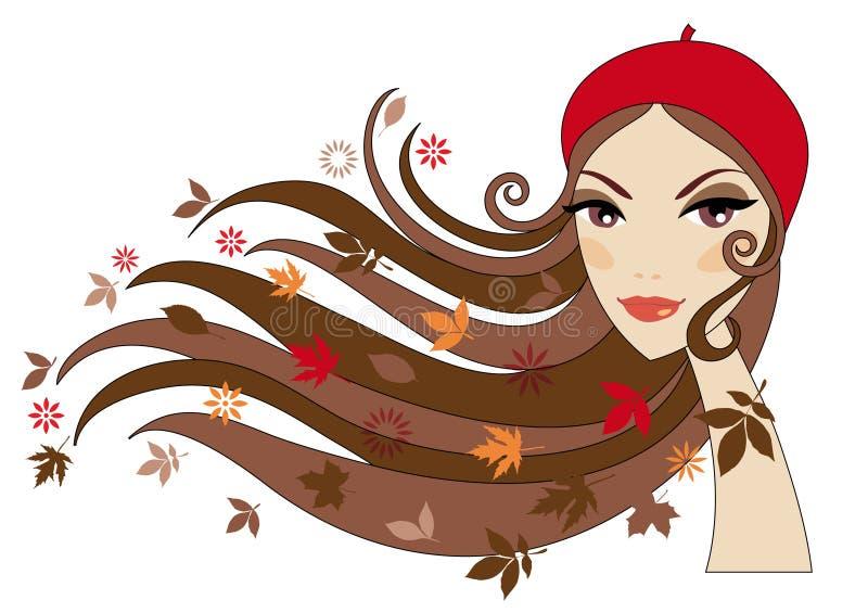 höstkvinna stock illustrationer