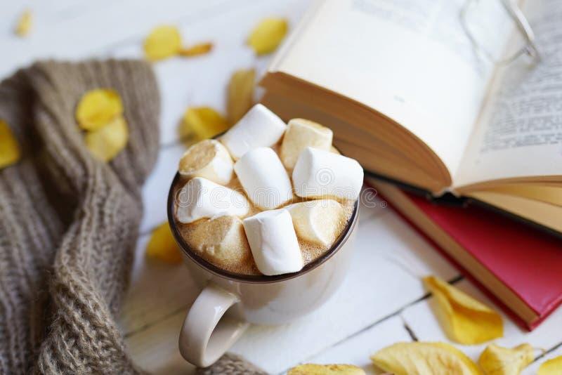 Höstlägenheten lägger med den varma halsduken, den varma koppen av kakao och böcker på vit träbakgrund med utrymme för kopia royaltyfri foto