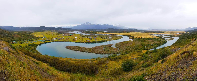 Höstlandskap av Patagonia, Torres del Paine nationalpark, Chile arkivbilder