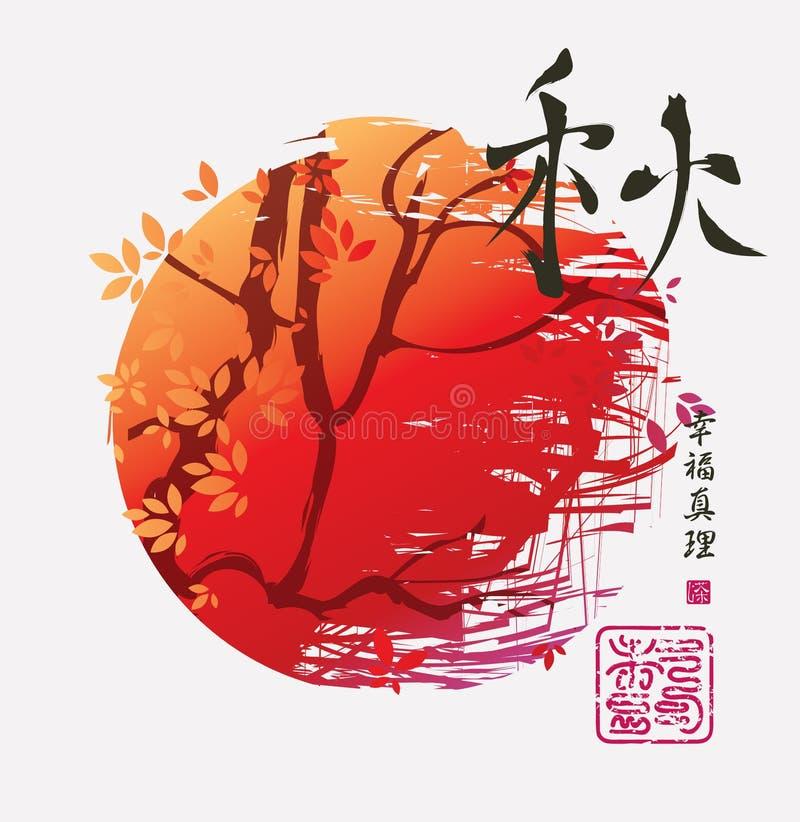 Höstlandskap i kinesisk eller japansk stil royaltyfri illustrationer