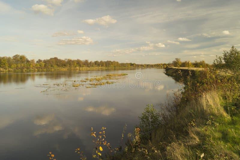 Höstlandskap med floden på bakgrundshimmel royaltyfri fotografi
