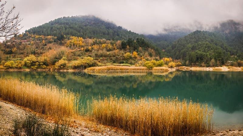 Höstlandskap med grönt vatten av sjön Tsivlos, Peloponnese, royaltyfri bild
