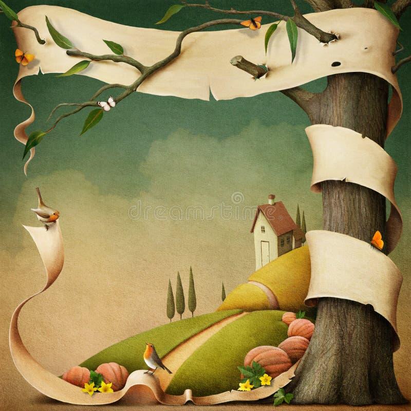 Höstlandskap med huset. stock illustrationer