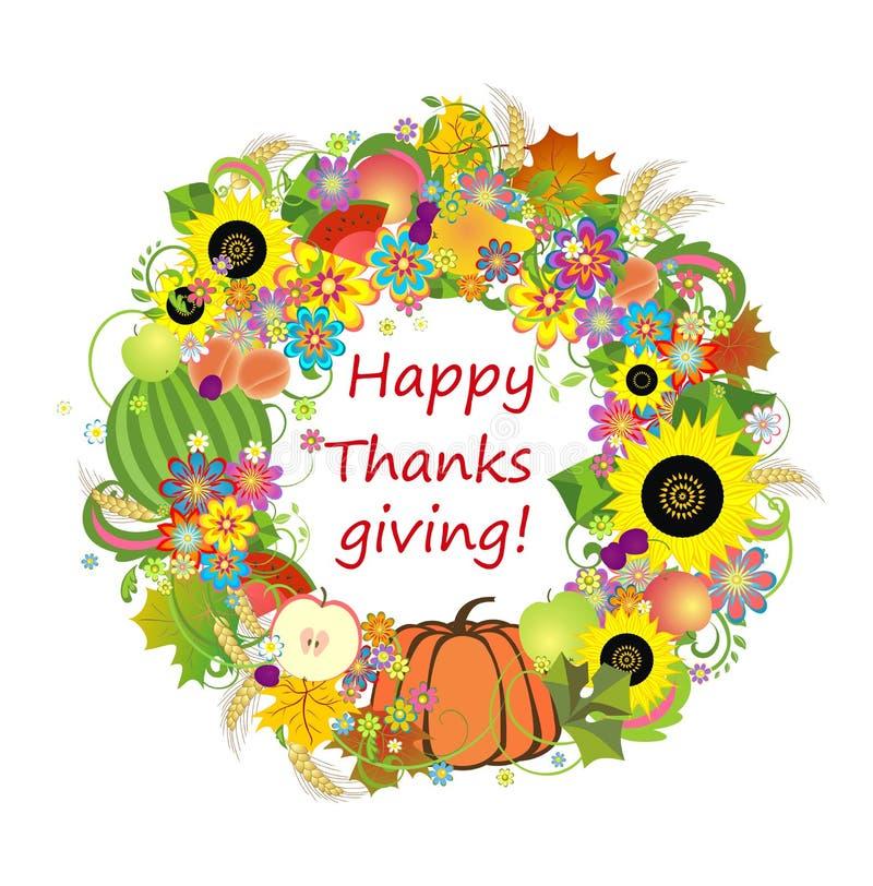 Höstlig ram med frukter och grönsaker för tacksägelse stock illustrationer