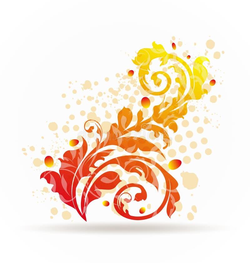 Höstliga dekorativa färgrika designelement stock illustrationer