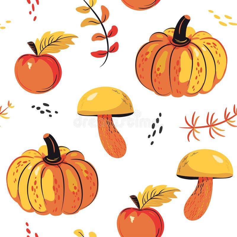 Höstliga sömlösa modelläpplen, pumpa, champinjon royaltyfri illustrationer