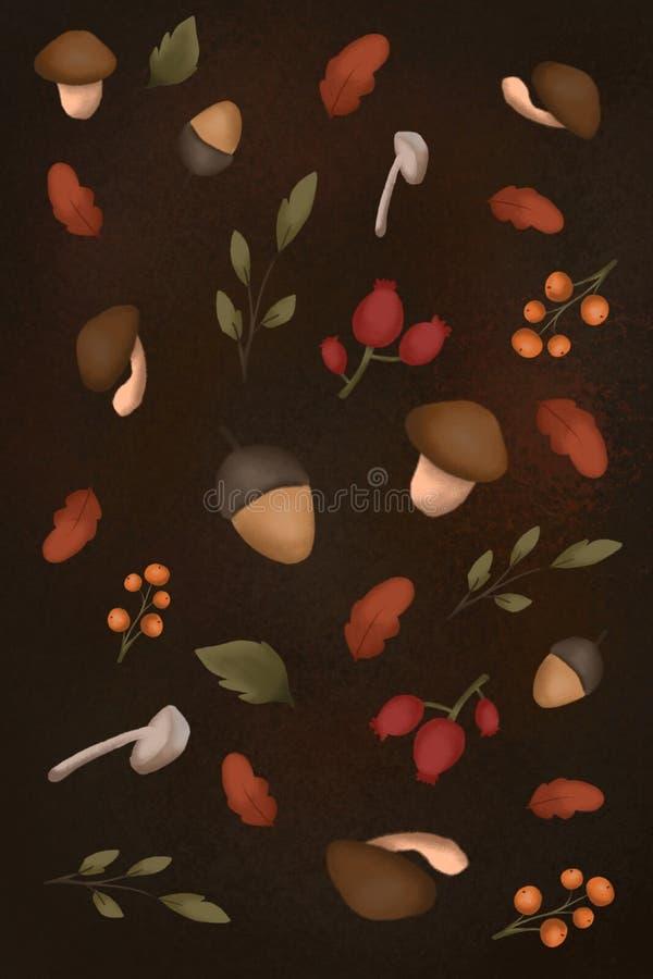 Höstmönster med bilden av blad, svamp, bär, akrosor royaltyfri illustrationer