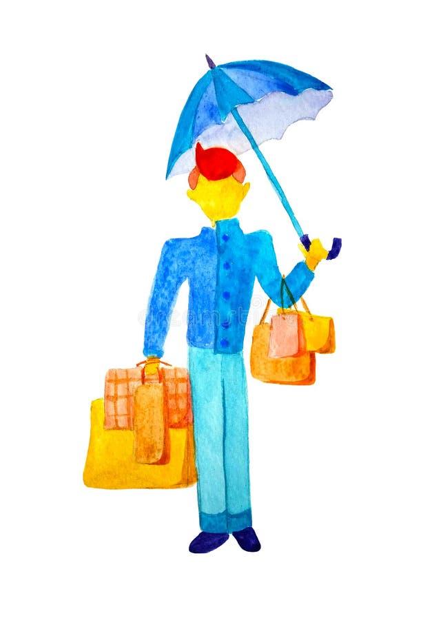 Höstmodeförsäljningar och rabatter En man i ett blått lag står på en isolerad vit bakgrund och att rymma paraplyet i hans stock illustrationer