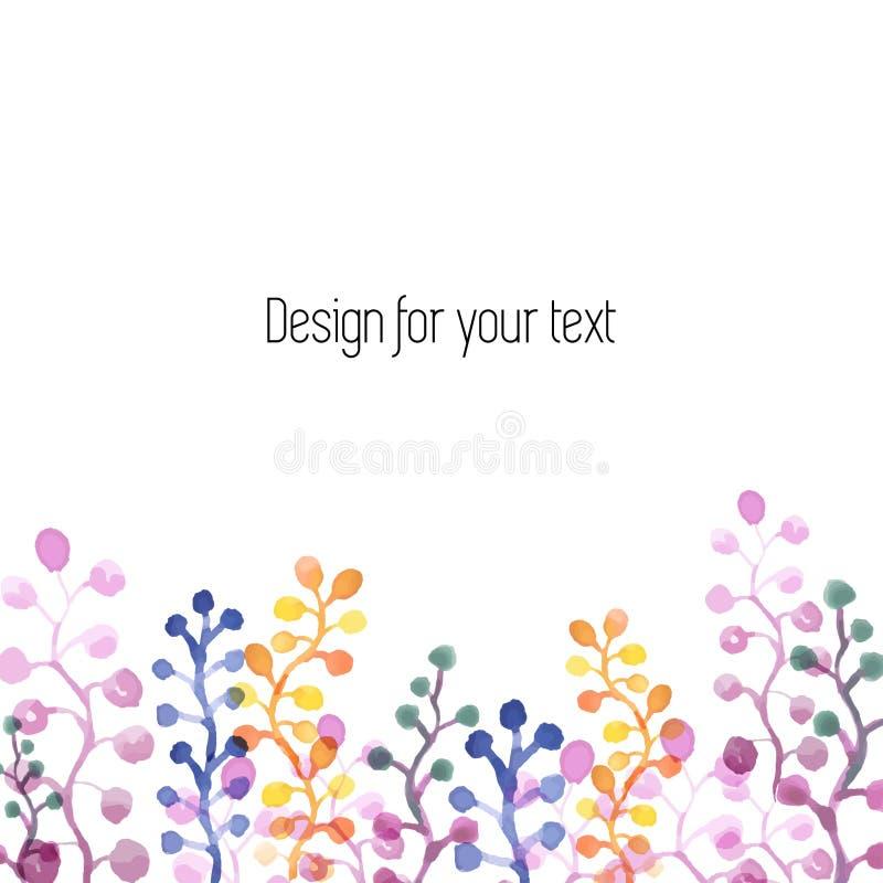 Höstmodell med färgrika vattenfärgsidor Mall med st?llet f?r text royaltyfri illustrationer