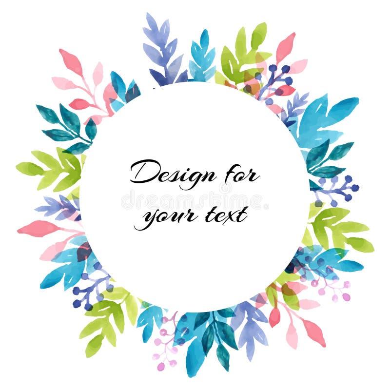 Höstmodell med färgrika vattenfärgsidor vektor f?r ramillustrationtext Mall med ett runt ställe för text stock illustrationer