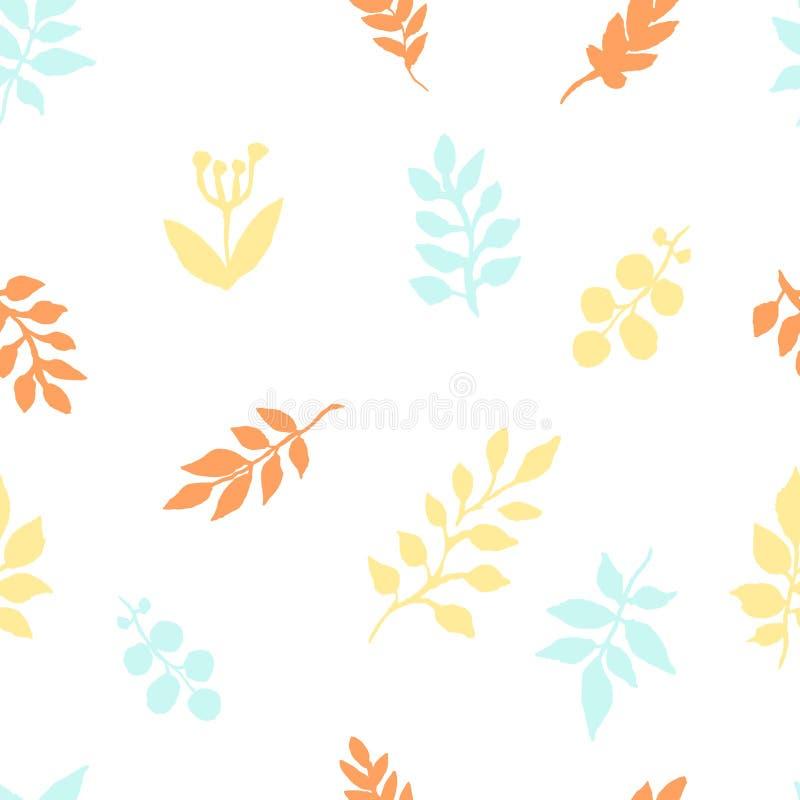 Höstmodellen av vattenfärgen lämnar frihandsteckningen Skissa av sidor av växter i apelsin-blått signaler, textilmodell royaltyfri illustrationer