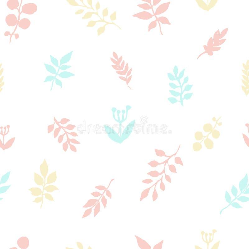 Höstmodellen av vattenfärgen lämnar frihandsteckningen Skissa av växtsidor, textilmodell royaltyfri illustrationer