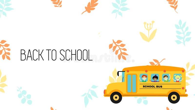 Höstorienteringsbaksida till skola - ram eller baner eller skärm, med skolbussen och stället för text h?sten l?ter vara modellen stock illustrationer