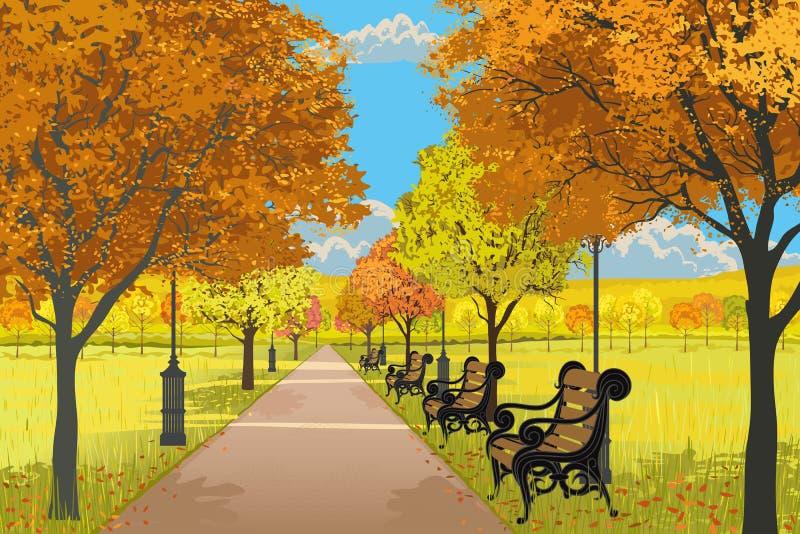 höstpark royaltyfri illustrationer