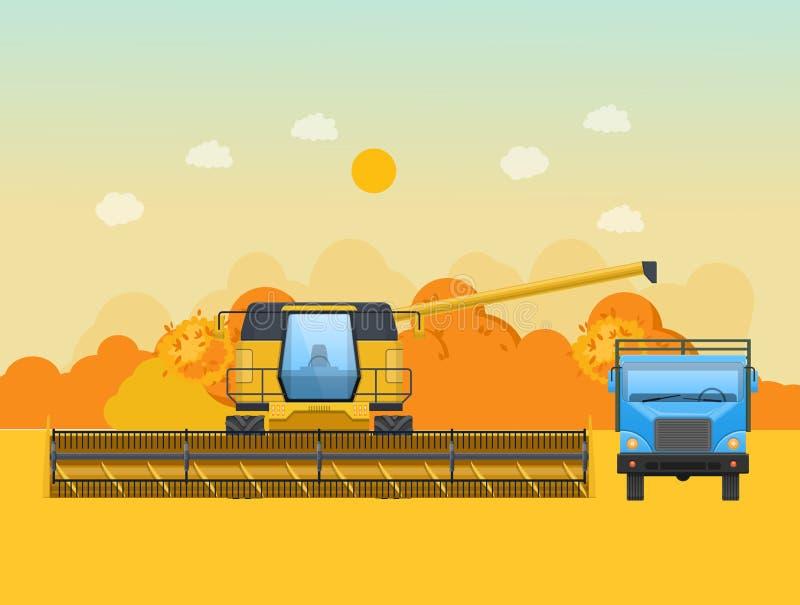 Höstplockning i fältet Jordbruks- maskineri, maskiner för att skörda vektor illustrationer